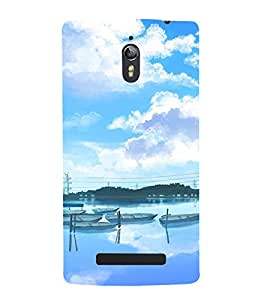 printtech Cartoon Boats Nature Back Case Cover for Oppo Find 7
