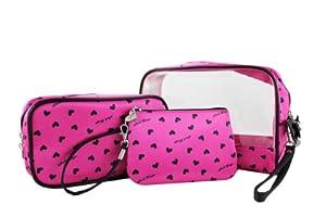 Heart Pattern 3pc Rectangular Travel Set Hot Pink from JewelryNanny