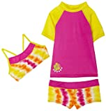 Speedo Girls 7-16 Atomic Tye Dye Rashguard 3 Piece Swimsuit Set