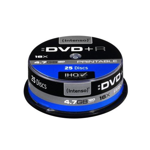 Intenso DVD+R Capacité 4,7 Go Vitesse 16x DVD imprimable Résistant aux rayures Lot de 25 (Import Allemagne)