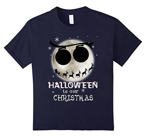 [Kids Halloween Is Our Christmas T-shirt 6 Navy] (Boogie Man Nightmare Before Christmas Costumes)