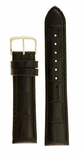 Men's Alligator Grain Watchband - Natural Matte Finish - Color Black Size: 18mm Watch Strap