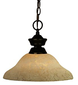 Z-Lite 100701BRZ-GM12 One Light Pendant, Metal Frame, Bronze Finish and Golden Mottle Shade of Glass Material