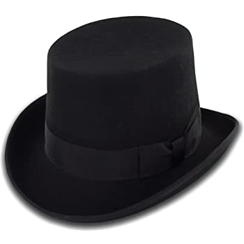 Belfry Topper 100% Wool Satin Lined Men's Top Hat in Black Available in 4 Sizes