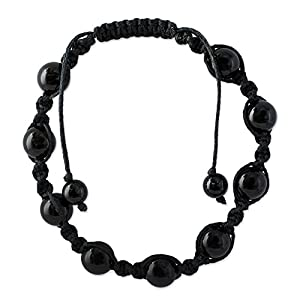NOVICA Macrame Shamballa Beaded Bracelet with Black Onyx, Adjustable Length, 'Blissful Protection'