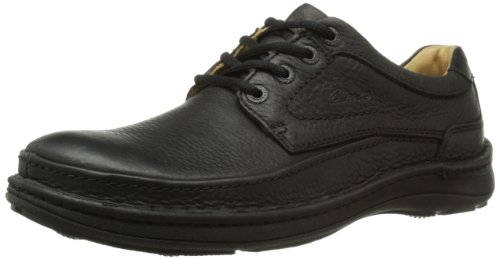 Clarks Nature Three Black Leather 203390087100 Men's Lace-Up Shoes - Black, 10 UK