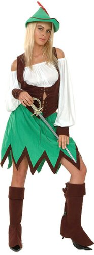 Bristol Novelty Brown/Green Robin Hood Lady Deluxe Costume Women's One Size