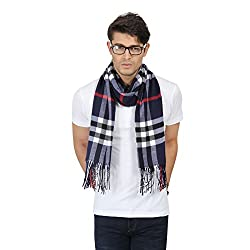 FabSeasons Winter Unisex Navy Blue Chexs Printed Scarf, Scarves, Stoles and Shawl