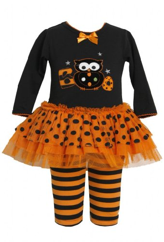 Orange Black Boo Owl Applique Dress / Legging Set Or0Si,Bonnie Jean Baby-Newborn Halloween Party Dress front-161933