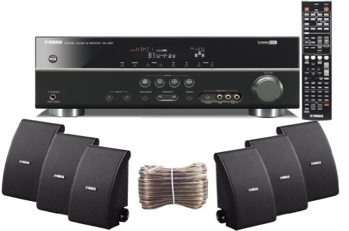 Yamaha 3D-Ready 5.1-Channel 500 Watts Digital Home Theater Audio/Video Receiver With A Usb Digital Input And Connecting Cable To Play & Charge Your Ipod Or Iphone & Control Remotely + Set Of 6 Yamaha All Weather Indoor / Outdoor 120 Watt Wall Mountable Na