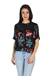 Aaliya Woman Polyester Brasso Short Sleeves Casual Top - Multicolor, XL