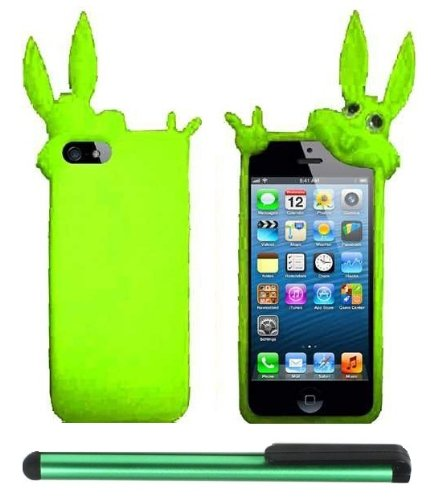 #>>  Neon Green Rabbit Silicone Skin Premium Design Protector Soft Cover Case Compatible for Apple Iphone 5 (AT&T, VERIZON, SPRINT) + Combination 1 of New Metal Stylus Touch Screen Pen (4