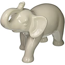 Abbott Collection Medium White Ceramic Elephant Figure
