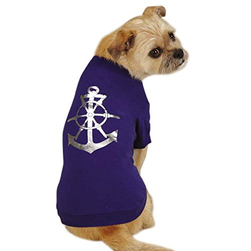 East Side Collection Polyester/Cotton Paws On Deck Anchor Dog Tee, X-Small, Blue