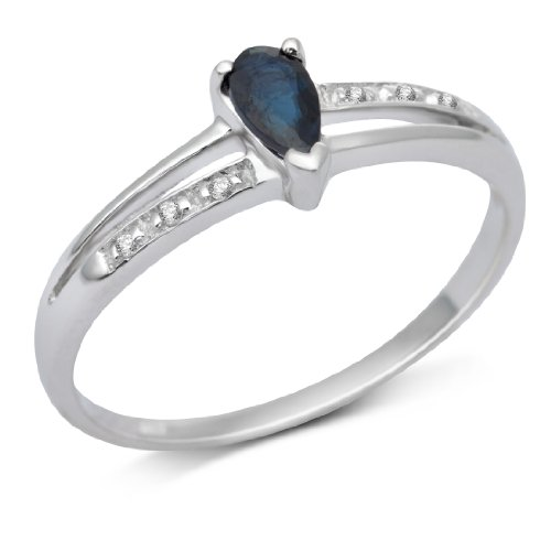 Miore 9ct White Gold Pear Cut Sapphire and Diamond Engagement Ring MT043R