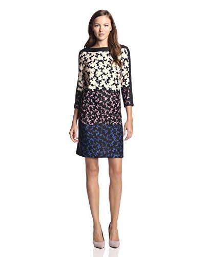 Gabby Skye Women's Colorblock Floral Print Dress  [Cream/Rose/Blue]