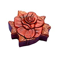 Rose Handmade Carved Wood Intarsia Puzzle Box