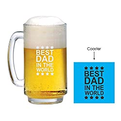 Fathers Day Gifts, Giftsmate Engraved Best Dad in the World Playboy Beer Mug - 357 ML, Birthday Gifts for Father, Gifts for Dad