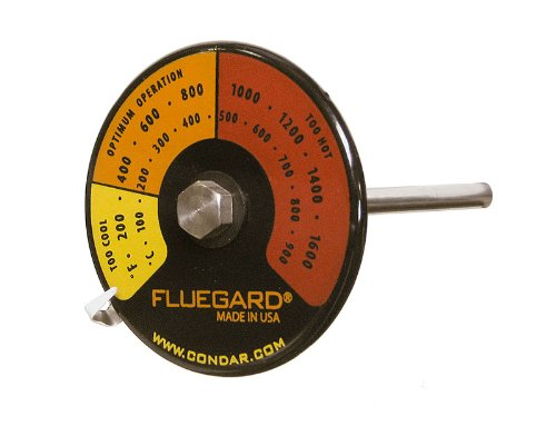 Cheap FlueGardTM Thermometer (3-39). Most precise readings for DOUBLE WALL pipe. Durable genuine por...