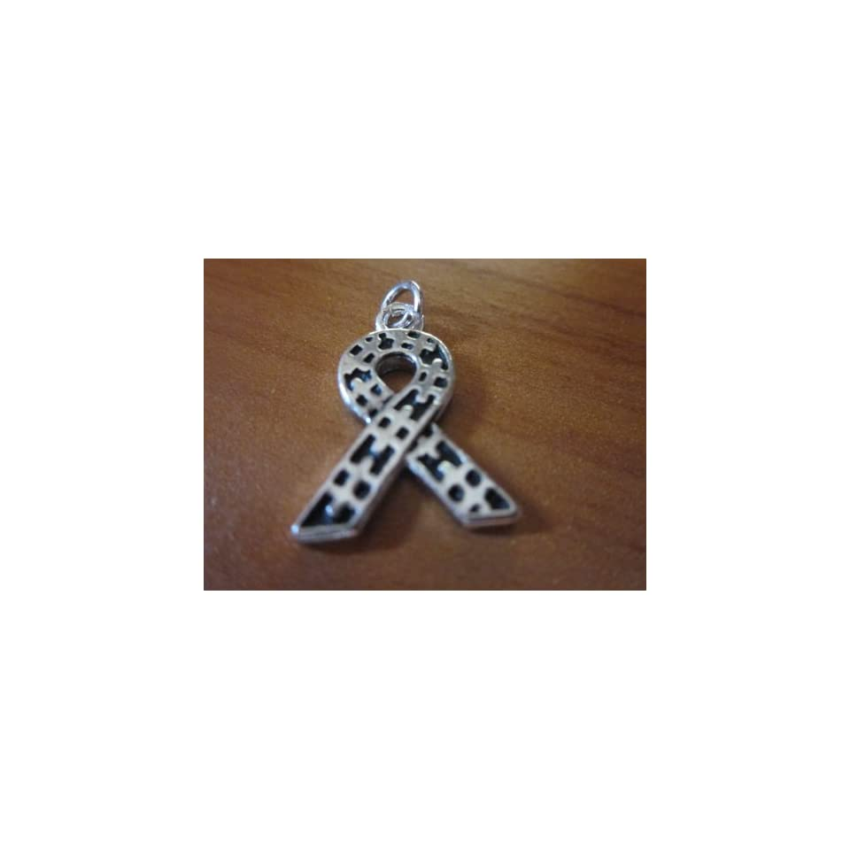 Autism Awareness Ribbon with Puzzle Design Charm Sterling