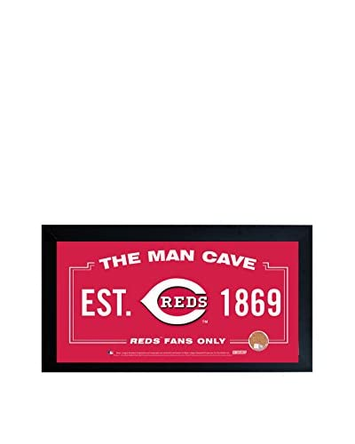 Steiner Sports Memorabilia Cincinnati Reds Man Cave Sign With Authentic Game-Used Dirt Capsule, Red,...
