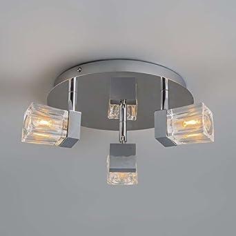 Qazqa design moderne spot n salle salle de bain clou 3 - Cube de verre salle de bain ...