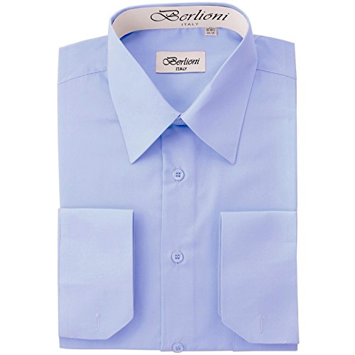 Men's Dress Shirt - Convertible French Cuffs - Sky Blue, XL, 34/35 Sleeve