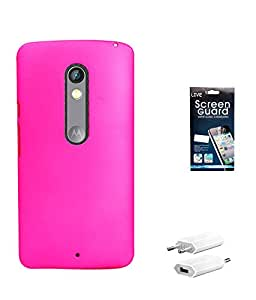 Hermit Back Cover Plus Screen Guard Plus USB Charger For Motorola Motox Play -Pink