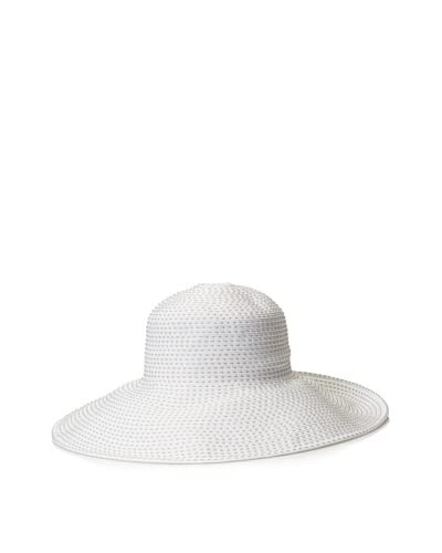 Caribbean Joe Women's Striped Floppy Brim Sun Hat, White/Beige As You See