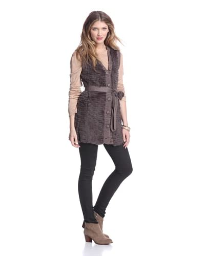Dolce Cabo Women's Belted Fur Vests  [Fawn]