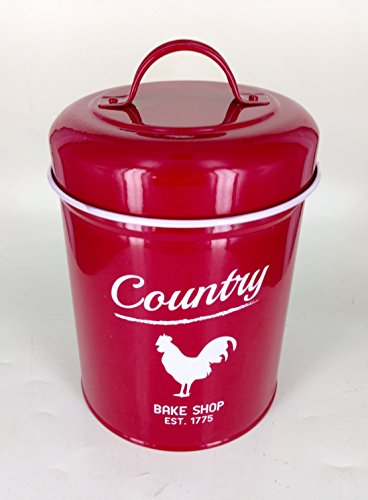 Large Red Rooster Red Kitchen Canister