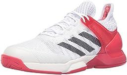 adidas Performance Men\'s Adizero Ubersonic 2 Tennis Shoe, White/Black/Ray Red Fabric, 9 M US