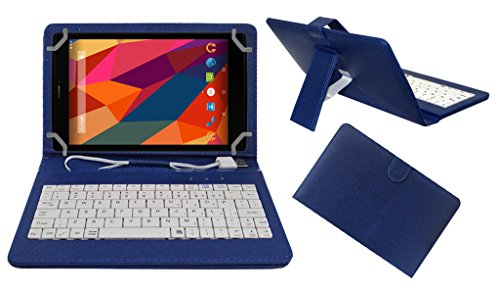 Acm Premium Usb Keyboard Tablet Case Holder Cover For Micromax Canvas Tab P680 With Free Micro Usb Otg - Blue