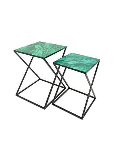 Three Hands Set of 2 Metal Tables, Green