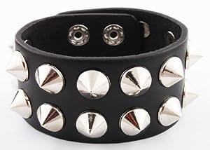 Black with Silver Spiked Genuine Leather Adjustable Snap Bracelet