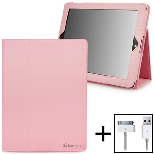 Kore Tech (TM) Leather Folio Case (Pink) with Flip Stand for Apple iPad 2/iPad 3/**The New iPad**(Built-in magnet for Apple Smart Cover's sleep & awake) + (USB Sync/Charging Cable for iPad/iPhone/iPod) - SPECIAL PROMO SALE