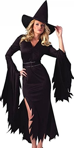 NonEcho Halloween Costumes For Women Retro Witch Sorceress Costume 2 Pieces with Hat