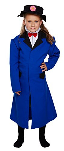 [Girls Childrens Victorian Nanny Poppins Fancy Dress Costume for School Mary Outfit 7-9 Years by Partypackage] (Mary Poppins Costumes Child)