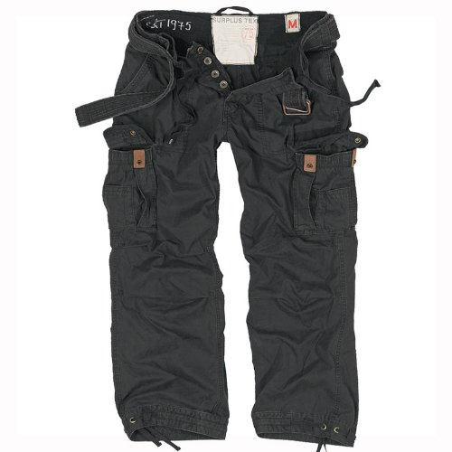 Surplus Army Premium Vintage Trousers Mens Combats Cargo Work Surplus Pants Black