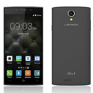 EasySMX Leagoo Alfa 5 3G Mobile Phone 5.0 Inch Display 1.2 GHz Quad Core Processor Dual SIM Card Standby 8MP Rear Camera 2200mAh Lithium Battery (Black)