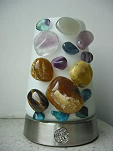kristall lampe mit edelsteine f r sternzeichen wassermann fluorit chrysokoll opal falkenauge. Black Bedroom Furniture Sets. Home Design Ideas