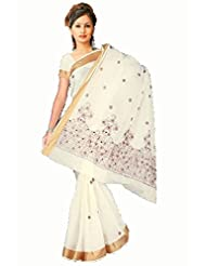 Sehgall Saree Indian Bollywood Designer Ethnic Professional Off White Gold Zari Border Cotton Saree With Reddish...