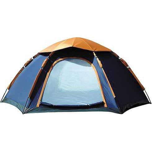 CampFeuer-Hexagon-Campingzelt-Sechseckzelt-groes-Kuppelzelt-blau-orange-3000-mm-Wassersule