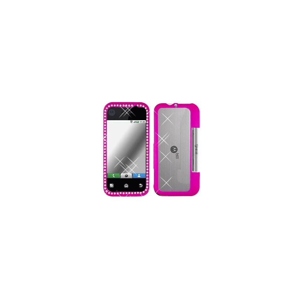 Premium   Motorola MB300/Backflip Diamond Rubber Rose Pink Cover   Faceplate   Case   Snap On   Perfect Fit Guaranteed