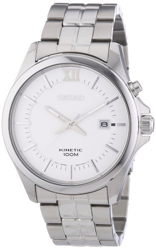 Seiko Kinetic White Watch Ska571P1