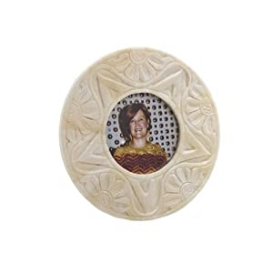 Abigails 3-Inch  Round Carved Bone Picture Frame