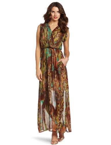 Donna Morgan Women's Mock Wrap Maxi Dress With Sleeve Band, Turquoise Multi, 10