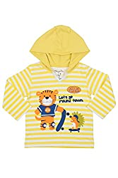 Chirpie Pie by Pantaloons Boy's Hooded T-Shirt (205000005610013, Yellow, 18-24 Months)