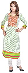 Geroo Women's Cotton Regular Fit Kurta (MKK-1534AZ, Off-White, XXL)