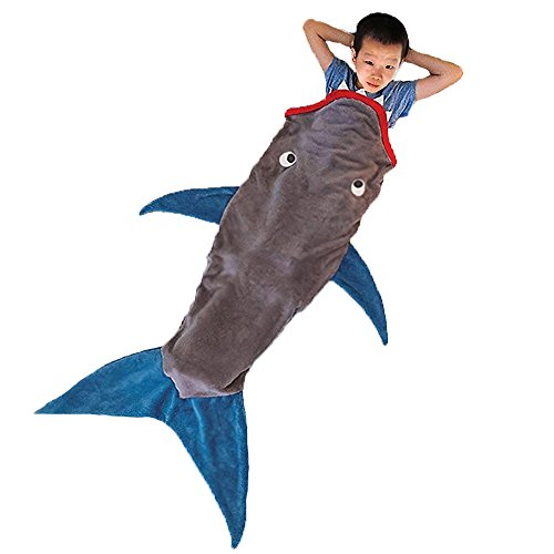Mermaid Tail Blanket, NOT HOME® Warm and Soft Mermaid Blanket, Knitted Blankie Tails, All Seasons Cozy Sleeping Bags for Kids and Adults (Grey)
